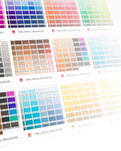 Tabla de colores para sublimación